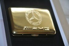 Cigarette Case Cigar Metal 24K Gold Plated Mercedes Benz AMG Style Logo Gift Box