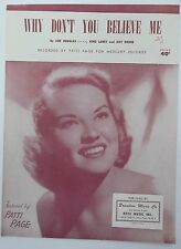 PATTI PAGE Sheet Music WHY DON'T YOU BELIEVE ME Keys Publ. 50's POP Female Vocal