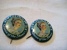 Pair Vintage Chevrolet 6 Queen Of Shows ,Dealer Button. Hat Pin, Lapel Pin