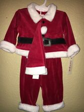 INFANT BABY BOY FIRST CHRISTMAS RED VELVET SANTA SUIT HAT CLOTHES NWT 0-3 MONTHS
