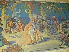Vintage Tapestry w Fringe (Large) Victorian Venice Courting Couple made Belgium
