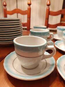 Shenango Restaurant China Aqua White 37 Pieces Coffee For 12 Vintage
