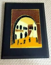 vintage Tiny miniature enamel wall plaque picture morocco ? Italy ? UK seller