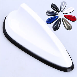 Universal Car Roof Shark Fin Antenna Cover Radio FM Receiver Amplifier White ABS