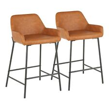 OPEN BOX Daniella Industrial Counter Stools in Camel Faux Leather (Set of 2)