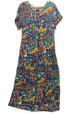 Vintage Phool Dress Colorful Hawaiian Flower Palm Tree Beach House Short Sleeve