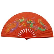 Chinese Tai Chi Martial Art Kung Fu Bamboo Dragon and Phoenix Fan Red