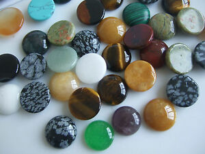 10 x Assorted Colours Natural Stone Round Cabochons Beads For Jewellery Making