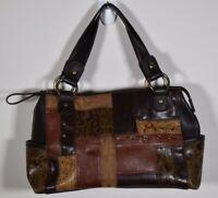 Relic women's handbag shoulder bag carryall purse brown faux leather patch