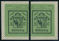 SCHWEIZ 1943, MiNr. 423 L/R, Einzelmarken Bl. 10, tadellos postfrisch, Mi. 60,-
