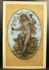 Jeune femme nue Fusain & gouache sur calque nude maiden circa 1900 art nouveau