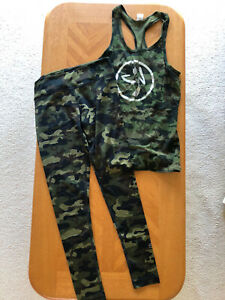 Two Piece Zumba Green Camoflage Pattern Tank M, Leggings L EUC