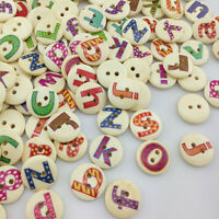 50/100/500pcs Alphabet Letter Wood Buttons 15mm Sewing Craft Mix Lots WB01