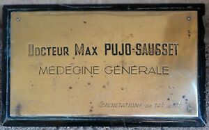 Old French mounted bronze name plate Doctor Docteur Dr Max Pujo-Sausset 1930s