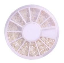 New White Pearl Nail Art Stone Different Size Wheel Rhinestones Beads