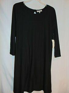 Women's Size L Elegant Black Dress w/ Cut Out Back Oval Neck Line Bobbie Brooks