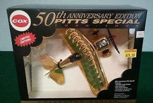 1995 Cox 50th Anniv. Pitts Special Model Airplane w/Pee Wee .020 Engine & Box