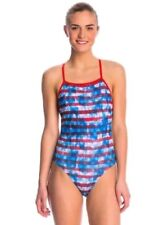 Speedo Endurance Womens 12 / 38 Swimsuit USA American Flag One Piece NEW $69