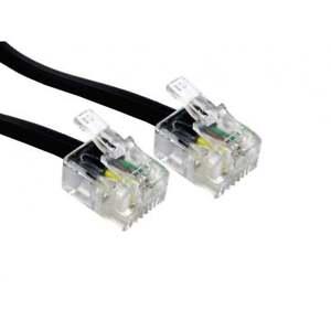 5m RJ11 To RJ11 Cable Lead 4 Pin ADSL DSL Router Modem Phone 6p4c BLACK Long