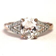 925 Sterling Silver 14k rose gold morganite zircon ring 2.8g estate vintage cz