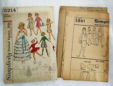 "Simplicity Patterns 5861 5214 Doll Wardrobe Clothes Tammy 12"" Skipper 9"" Vtg Lot"