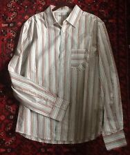 Mens SHIRT Paper, Denim & Cloth sz 2 M ? WHITE Striped grey red