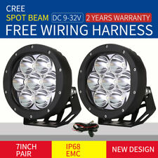 New Design Cree 7inch Pair LED Driving Lights Spotlights Black Round Offroad SUV