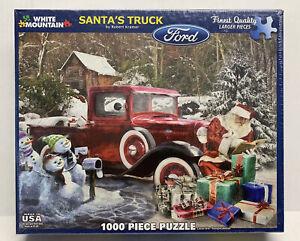 NISB White Mountain Santa's Ford Truck 1000 Piece Jigsaw Puzzle By Robert Kramer
