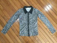 NEIMAN MARCUS Women's Cashmere Button Down Snake Print Cardigan Sweater Size XS