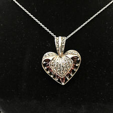 "Sterling Silver 1"" Heart Necklace w/Citrine Stones 14-1/2"" Chain"