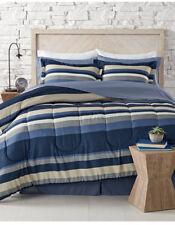 Blue, White & Gray Teen Boys Nautical Stripe Full Comforter Set 8 PC Bed In Bag