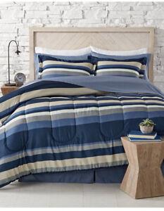 Blue, White & Gray Boys Nautical Stripe CAL King Comforter Set 8 PC Bed In Bag
