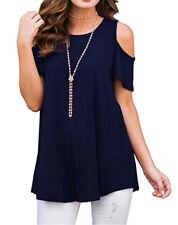UK Womens Cold Shoulder T-shirt Summer Ladies Loose Blouse Tops Plus Size 6-20