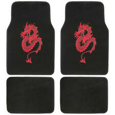 Red Dragon Car Carpet Floor Mats - Universal Fit Design, 4pc Front and Rear Set