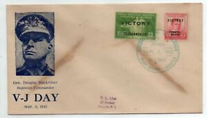 PHILIPPINES FDC Cachet V-J Day Sept.2 1945 MacArthur VICTORY Rizal Stamps