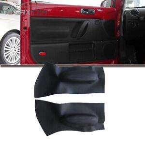 2pcs Black Microfiber Leather Car Door Handle Armrest Panel Cover For VW Beetle