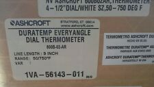 """Ashcroft 600B-02-A Duratemp Everyangle Dial Thermometer 4-1/2"""" 9 Inch 50-750F"""