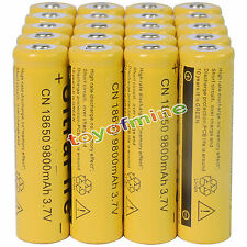 20pcs 18650 3.7V 9800mAh Yellow Li-ion Rechargeable Battery Cell For Torch