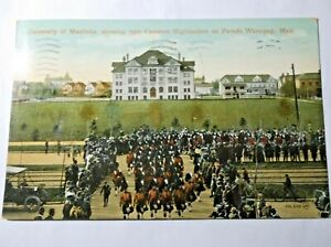 1911 RPPC Winnipeg Manitoba 79th Cameron Highlanders On Parade Posted Bagpipers