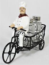 Chef on Tricycle Salt & Pepper Shaker Holder Baker Cook Kitchen Dining Tableware