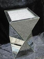 LARGE LUXURY CRUSHED DIAMOND MIRRORED PEDESTAL, MIRRORED LAMP TABLE,
