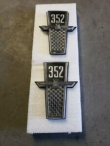 Pair NOS 352 1965 Ford Galaxie 500 Fender Emblems Script Badge C5AZ-16228-C
