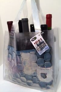 Chill and Carry Wine Beverage Tote 6 Bottle Size Clear Bag Fine Life Products