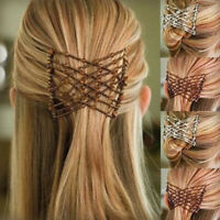 AU_ Beaded Stretchy Women Hair Combs Double Magic Slided Comb Clip Hairpins Delu