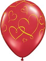 """Romantic Gold Hearts on Red 11"""" Helium Quality Latex Balloons Valentines Party"""