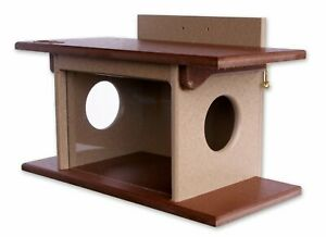 Amish-Made Squirrel House Feeder, Eco-Friendly Poly-Wood Post-Mount Feeder