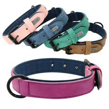 Small Large Dog Leather Collar Adjustable Solid Color for Boys & Girls Dog Breed