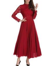 Womens Lace Chiffon Long Maxi Dress Prom Party Evening Dress Size 18