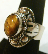 TAXCO Mexico .925 Sterling Silver Vintage Ring w/pocket-Tiger Eye-Adjustable
