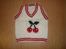 """FAB NUOVO BIANCO HAND Knitted BABY TANK TOP CILIEGIE 18 """"PELO 0-6 Mesi REGALO"""